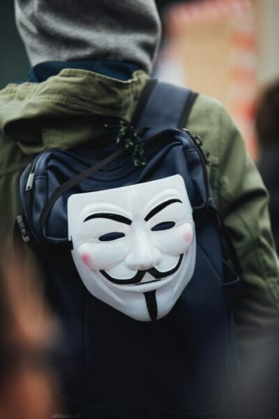 Protester with Guy Fawkes mask